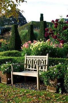 Pettifers Garden, Oxfordshire, England Love this garden bench! Formal Gardens, Outdoor Gardens, Garden Seating, Garden Benches, Dream Garden, Home And Garden, Landscape Design, Garden Design, Garden Sitting Areas
