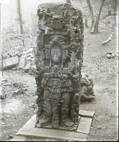 Front view of Stela N; it is said to be the most elaborately carved monument at Copán, Honduras. Photographed by: Dr Alfred Percival Maudslay in 1890-1891. -British Museum-