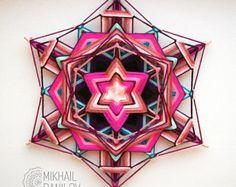 """Tejido mandala """"Lucky Star"""" hilado mandala huichol arte ojo de dios hecha a mano decoración de la pared colgante colorido ojo del dios indio cósmica"""