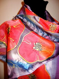 Poppies  Hand Painted SILK Scarf by SilkMagic on Etsy, $43.00  (lots of nice scarves on this site)