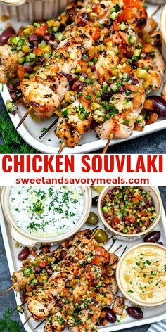 Chicken Souvlaki is a tasty Greek dish, made with marinated chicken chunks, topped with a tomato olive relish and served with a creamy yogurt dip on the side. Greek Chicken Recipes, Grilled Chicken Recipes, Greek Recipes, Recipe Chicken, Keto Chicken, Healthy Chicken Bake Recipes, Shrimp Kabob Recipes, French Recipes, Rotisserie Chicken