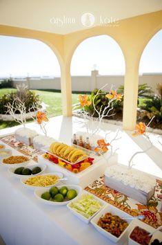 Modern Orange and White Styled Wedding Shoot  |  Fiesta Wedding  |  Taco Bar