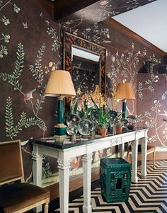 Malachite, Rust, Peach, and Espresso - beautiful combination in this Chinoiserie  Rooms That Break the Rules in Style