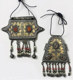 Turkmenistan   Two Yorud silver gilt and carnelian pendants   19th century   250€ ~ sold (Apr '10)