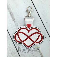 Infinity Heart Snap Tab Key Fob Embroidery Design