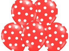 """Balon 14"""" czerwony w białe kropki, 1 szt"""