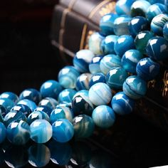 Find More Beads Information about Aaa Blue Stripe Onyx Agate  Natural Stone Beads For Jewelry Making Diy…