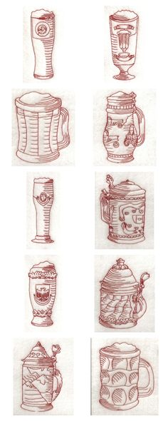 RW Beer Mugs Embroidery Machine Design Details