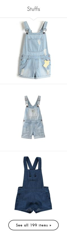 """Stuffs"" by parisiensegirl ❤ liked on Polyvore featuring jumpsuits, rompers, shorts, overalls, bottoms, blue rompers, bib overalls, playsuit romper, blue overalls and blue romper"