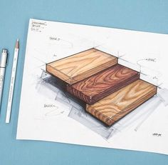 Industrial design sketch of maple, walnut, and oak wood grains. Drawn with Copic markers and prismacolor pencils. Interior Design Sketches, Industrial Design Sketch, Interior Rendering, Sketch Design, Architecture Concept Drawings, Texture Drawing, Marker Art, Drawing Sketches, Sketching