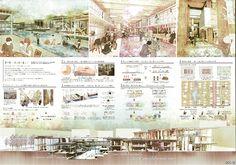 常の樹- 伝え紡ぐ暮らし - 杉森大起(立命館大学大学院) 奥浩(立命館大学) Interior Presentation, Plate Presentation, Architecture Presentation Board, Project Presentation, Architectural Presentation, Architectural Models, Architectural Drawings, Japan Architecture, Architecture Panel