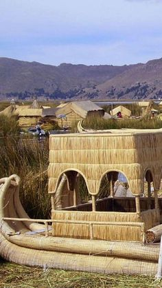 Tortura reed  boad (Floating Uros Island) in Lake Titicaca, borders BOLIVIA and PERU