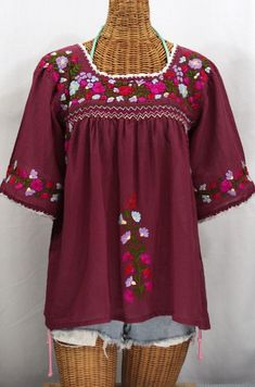 """Beautiful Burgundy!  Siren's """"La Marina"""" Embroidered Mexican Peasant Blouse...."""