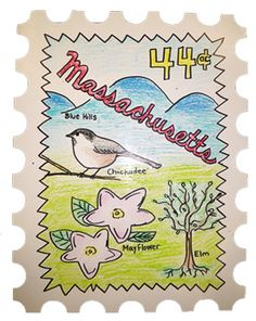 """As an extension of their """"50 States"""" unit students each designed their own postage stamp to go along with their state."""