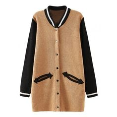 Pastel Hue Knitted Varsity Jacket Style Cardigan ($29) ❤ liked on Polyvore featuring tops, cardigans, beige top, beige cardigan, pastel cardigan, button cardigan and pastel tops