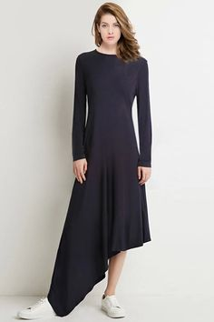 Long Sleeve Black Asymmetrical Dress