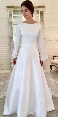 Vintage White Tulle Full Sleeve Bridal Gown, 2019 Long Wedding Dress Vestido de novia - Another! Modest Wedding Dresses With Sleeves, Modest Bridesmaid Dresses, Long Wedding Dresses, Modest Dresses, Bridal Dresses, One Shoulder Wedding Dress, Dress Wedding, Pageant Dresses, Bridal Hijab
