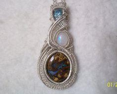 Boulder Opal Apatite Crystal Rainbow Moonstone .925 Sterling Silver Wire Wrap #Pendant #boulderopal #headywirewrap