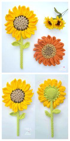 Sunflower Wand Flower Free Crochet Pattern Video Crochet Sunflower, Crochet Butterfly, Sunflower Pattern, Crochet Flower Patterns, Flower Applique, Crochet Patterns Amigurumi, Crochet Flowers, Crochet Stitches, Crochet Slouchy Hat