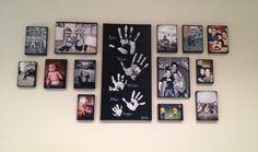 Canvas pictures & handprints put together for family wall gallery Family Pictures On Wall, Family Wall, Diy Picture Frames On The Wall, Family Hand Prints, Family Photos, Picture Walls, Family Room, Family Crafts, Home Crafts