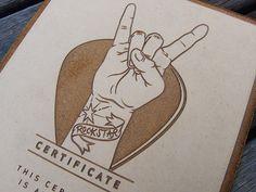 """Rockstar"" Service Certificate by Studio FU , via Behance"