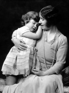 Princess Elizabeth, aged five, with her mother, then The Duchess of York.