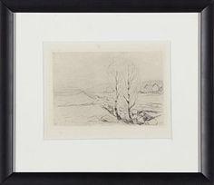 """EDVARD MUNCH (1863-1944) """"Norsk landskap"""" 1912-1920 Radering 10.5x15 cm."""