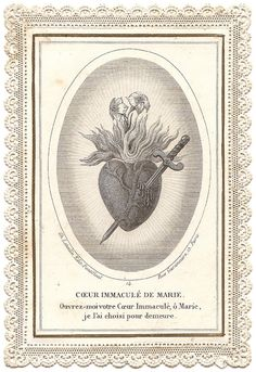 Immaculate Heart of Mary Pierced Burning Heart with Lilies Antique French Catholic Paper Lace Holy Prayer Card, Catholic Gift, Engraving