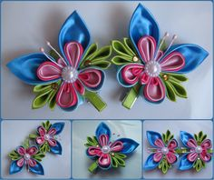одноклассники Satin Ribbon Flowers, Cloth Flowers, Ribbon Art, Fabric Ribbon, Ribbon Crafts, Ribbon Bows, Diy Flowers, Fabric Flowers, Diy Hair Bows