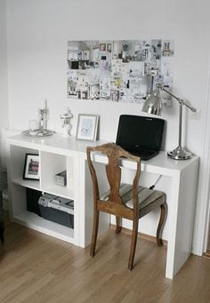 2x2 Expedit + a simple and clever little expedit hack for a slim line desk {via Stylizimo}