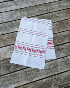 """Vintage Linen Dresser Scarf or Table Runner, Natural Linen, Red Black and White Embroidered Stripes, Scandinavian Design, 14"""" by 44 1/2"""" by GreenLeavesBoutique on Etsy"""