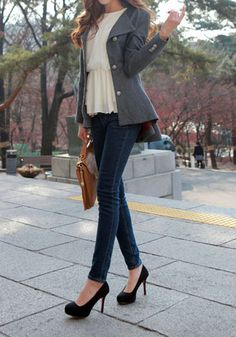 Asymmetric Fit-and-flare Blazer - Grey - Adorable Fit-and-Flare Outwear