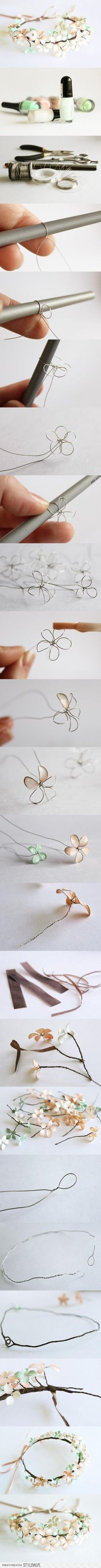 flowers made from thin wire and nail polish | She's cra… na Stylowi.pl