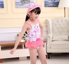 5107c4fd19 Cute Pink Cartoon Chid Swimwear Baby Girl Children Swimming Suit Bathing  Suits One Piece, One