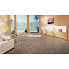Shop Style Selections 13-in W x 4.27-ft L Sierra Slate Embossed Tile Look Laminate Flooring at Lowes.com