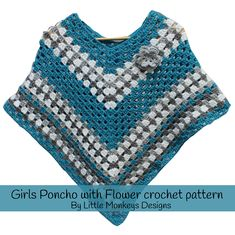 Girls poncho crochet pattern complete with a flower. Ravelry Crochet, Knit Or Crochet, Crochet Scarves, Crochet For Kids, Free Crochet, Crochet Poncho Patterns, Crochet Shawls And Wraps, Girls Poncho, Crochet Designs