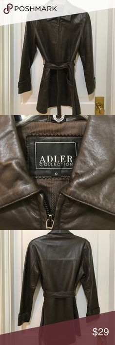Adler Leather Jacket Beautiful lamb skin leather jacket, size small. There has been general wear but also note I have done nothing to treat or replenish the luster of the leather. Two front pockets, belt, and a detachable fur collar! Inner lining is good other than the one rub mark shown in photo. Adler Jackets & Coats Trench Coats