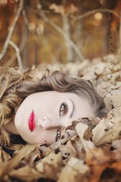 autumn, creative portrait, fall foliage, girl, golden hour, knoxville photographer, lace, leaves, model, orange, red lipstick, woods, yellow