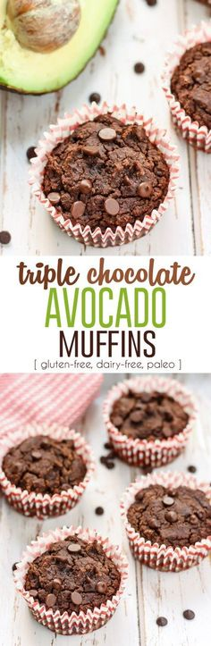 These Triple Chocolate Avocado Muffins are going to be your new healthy favorite! Made with coconut flour, avocado, and dairy-free chocolate chips, these muffins are gluten-free and paleo-friendly. I'm going to be cutting out a lot of the chocolate though Gluten Free Muffins, Gluten Free Baking, Gluten Free Desserts, Dairy Free Recipes, Real Food Recipes, Paleo Recipes, Recipes Dinner, Potato Recipes, Crockpot Recipes