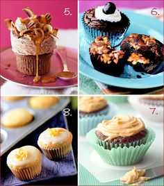 German Chocolate Cupcake, Brownie Surprise Cupcakes, Choco-Zucchini Cupcakes, Rosemary Mini Cupcakes