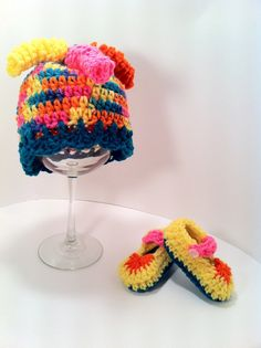 Infant Baby Hat Booties Rainbow Beanie Knit by ConstantlyUnfolding, $18.50