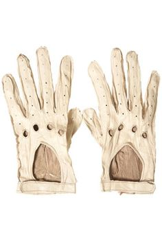 these rad beatup white leather driving gloves! so i can wear them while driving my white car.. and or when i ever get my dang white VESPA!!!