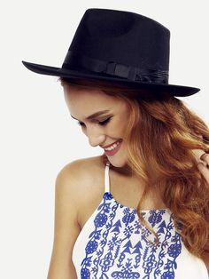 Black Vintage Bow Decorated Fedora Hat Mobile Site