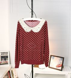 Peter Pan Collar Polka Dot Print Long Sleeve Knitting Sweater For Women (WINE RED,ONE SIZE) China Wholesale - Sammydress.com