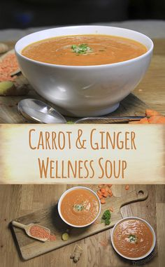 Carrot & Ginger Wellness Soup with Lentils & Coconut. Carrot & Ginger Wellness Soup with Lentils & Coconut. Vegetarian Soup, Vegan Soups, Vegetarian Recipes, Healthy Soup Recipes, Detox Recipes, Cooking Recipes, Carrot And Ginger, Detox Soup, Soup And Salad