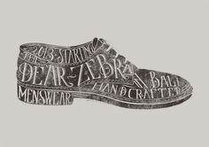 Typography on Derby Shoes illustration.
