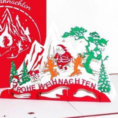 Pop-Up Karte Skifahrt Santa #popupcard #popup #art #klappkarte #3dkarte #weihnachten2017 #weihnachten #weihnachtskarten2017 #weihnachtsmann #rentiere #skifahren #skiing