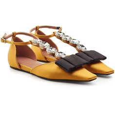 Marni Embellished Satin Flats ($589) ❤ liked on Polyvore featuring shoes, flats, yellow, ankle strap flat shoes, square-toe ballet flats, yellow flats, satin shoes and embellished flats