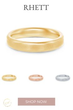 A modern beveled edge band with a brushed finish adds style for a more designed band.