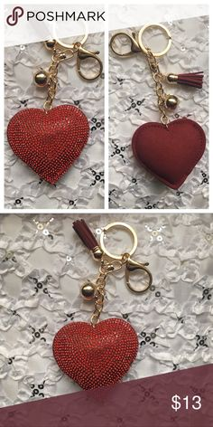 New Rhinestone Heart Keychain Handbag Decor New Rhinestone Heart Keychain Handbag Decor. This is not a bright color red. One side has rhinestones, the other side is plain. Had a tassel and gold ball hanging from it. Heart is approx 2.5 inches long. Accessories Key & Card Holders